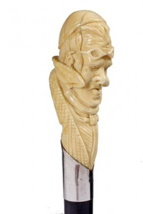 Carved Ivory Balloonist Cane- Late 19th Century- Ima