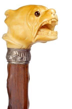 8: Ivory Bulldog Cane- C. 1890- The handle has its orig