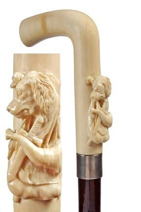9: Ivory Hunting Cane- C. 1880- Carved elephant ivory h