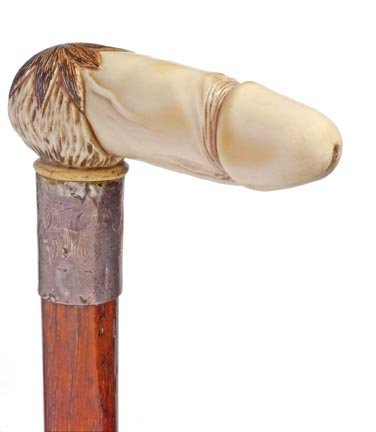 12: Erotic Ivory Penis Cane- Late 19th Century- A finel