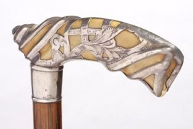 Silver And Ivory Cane- Late Victorian-