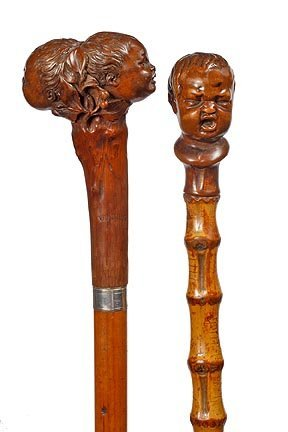 21: Two Infant Head Canes- Late 19th Century- Two very