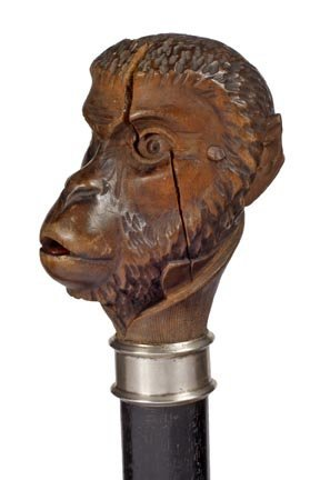 24: Monkey Automation Cane- Late 19th Century- A carved