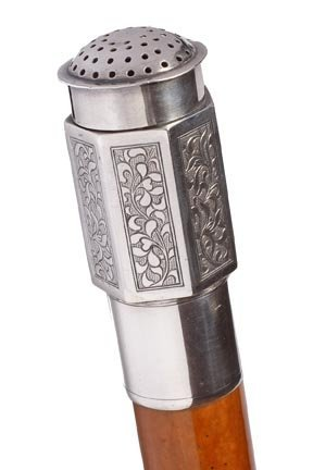 6: Sterling Vinaigrette Cane-Circa 1900-A sterling hand
