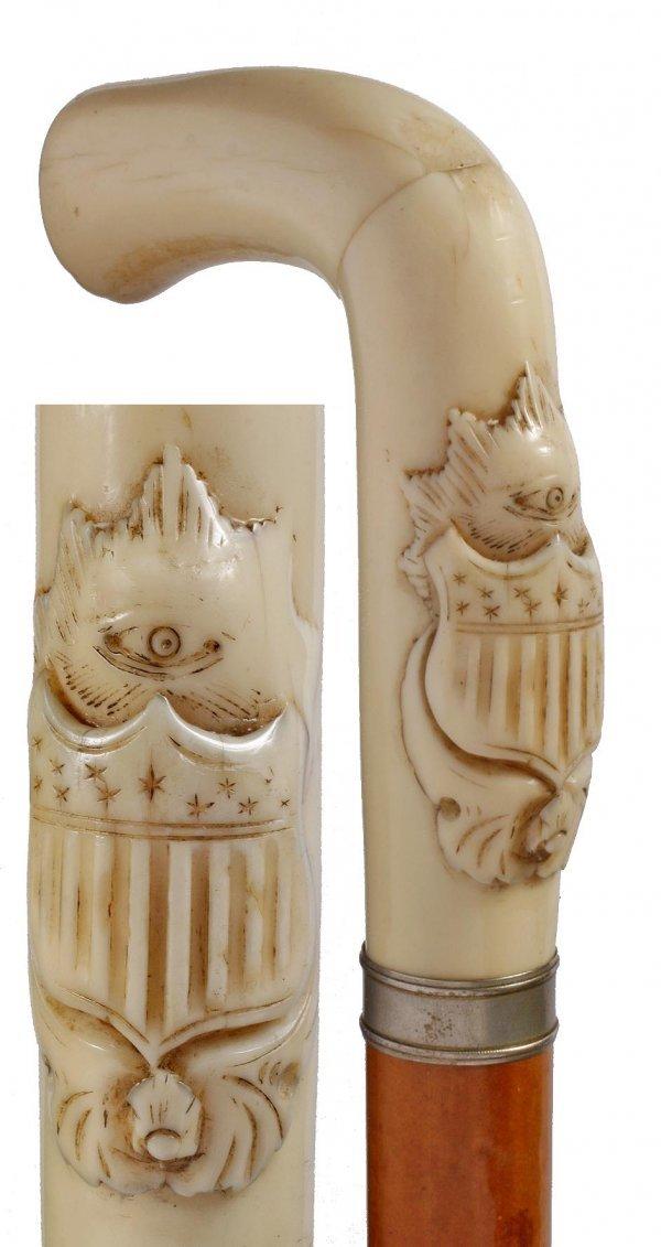 18: Ornate Ivory Dress-Circa 1880-A carved ivory handle