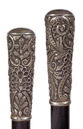 21: Silver Dress Cane-Circa 1885-An ornate silver handl