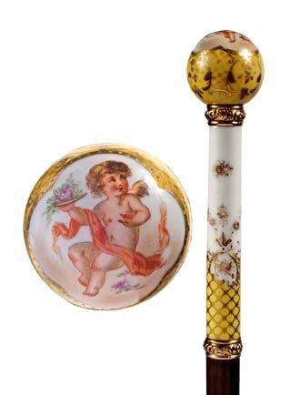 22: Porcelain Dress Cane-Circa 1890-A dress cane done i