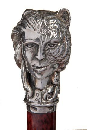2: Sterling Tiger Lady Cane-A contemporary sterling han