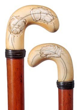 15: Ivory Carved Dog Cane-Circa 1900-A carved ivory han