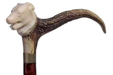 17: Stag and Ivory Dress Cane-Circa 1930-A carved ivory