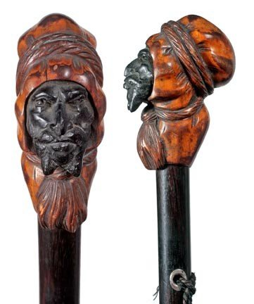 20: Carved Middle Eastern Man Cane-Circa 1880-A finely
