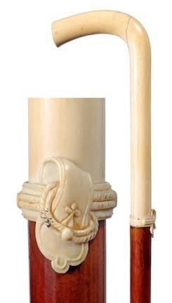24: Ivory Dress Cane-Circa 1890-A long ivory handle, or