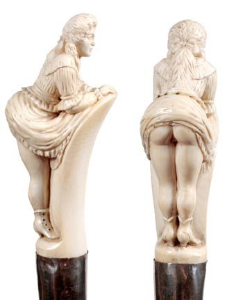52: Carved Erotic Ivory-Circa 1875-A full figure carved