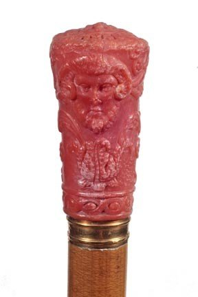 107: Carved Coral Dress Cane-Circa 1850-A very unusual