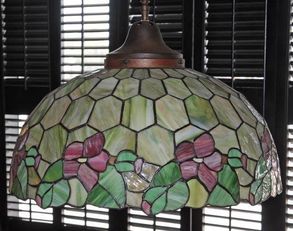 "4: Leaded glass shade, 22 1/4"" diameter"