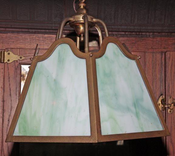 """16: Hanging green slag panel light, 21 1/2"""" in diameter"""