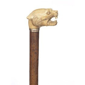 4: Large Ivory Tiger Cane-Late 19th Century-A stylized