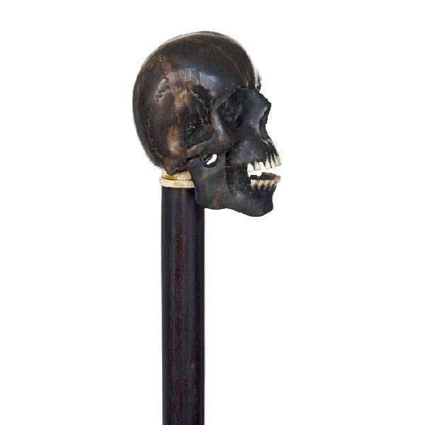 12: English Skull Cane-Circa 1900-A carved iron wood iv