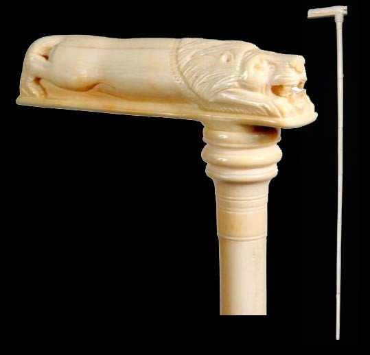 6: Ivory Lion Cane-Early 20th Century-A fully carved ha