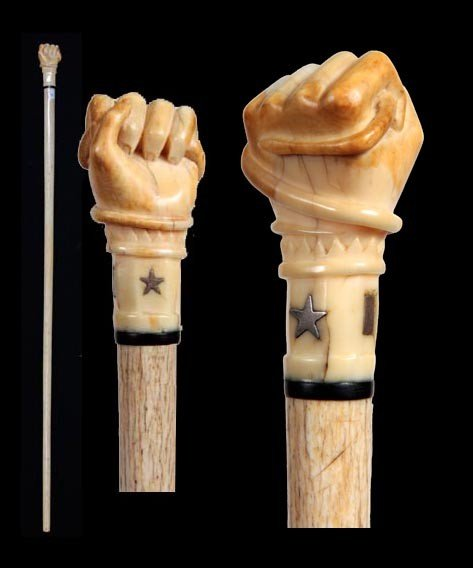 9: Superb Nautical Snake and Fist  Whalebone Cane-Circa