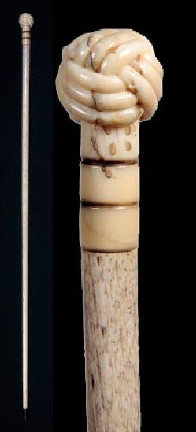 Turk's Knot Whalebone Cane-Circa 1880-A Finely Carv