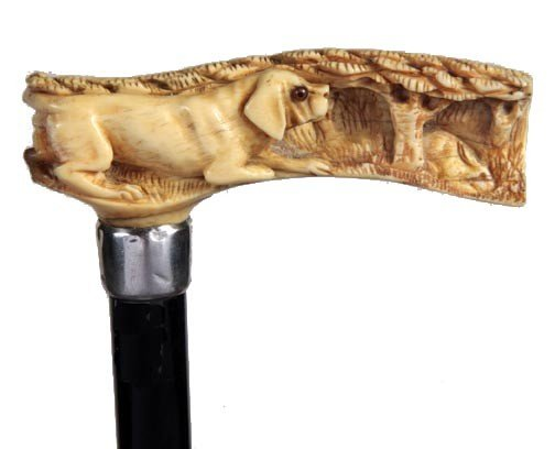 12: Ivory Dog and Rabbit Cane-Late 19th Century-A relie