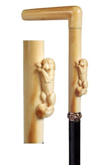 13: Ivory Rabbit Cane-Circa 1875-A carved ivory rabbit,