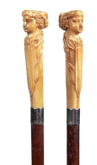 22: Ivory Ladies Cane-Late 19th Century-A well carved h