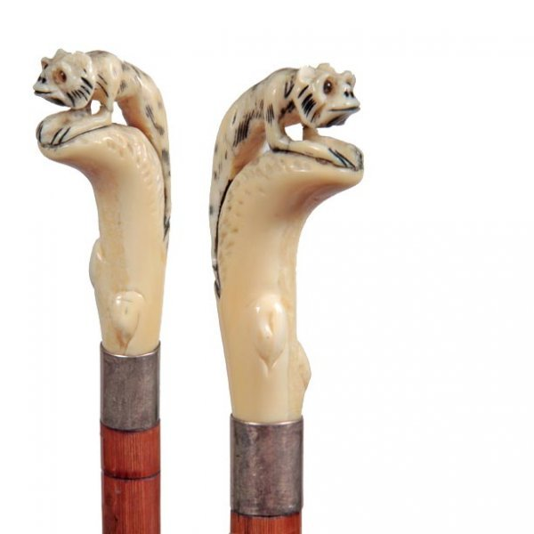23: Ivory Creature Cane-Early 20th Century-A carved wei