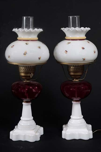 3: A pair of cranberry oil lamps which have been electr