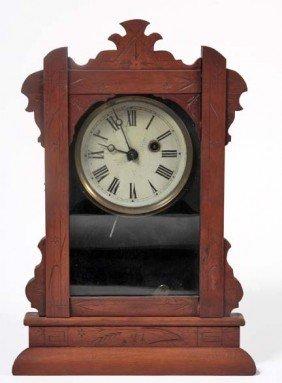 One Day Walnut Victorian Clock In Original Condition