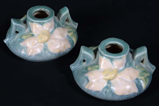 8: Roseville candle holders in fine condition