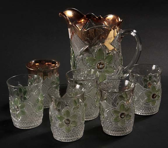9: Pressed glass picture and tumblers in fine condition
