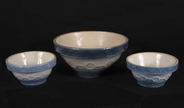 17: Three salt glaze blue wedding ring bowls, largest i