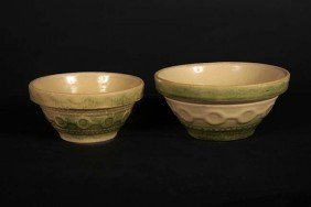 Salt Glaze Mixing Bowls, A Pair Of Green Wedding Ri