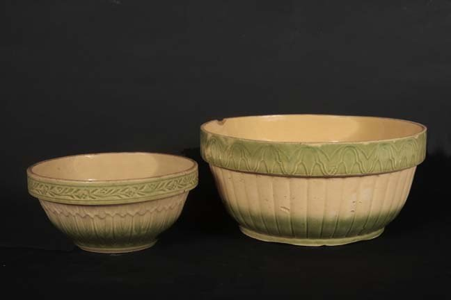 22: Two green salt glaze mixing bowls, minor chip on la