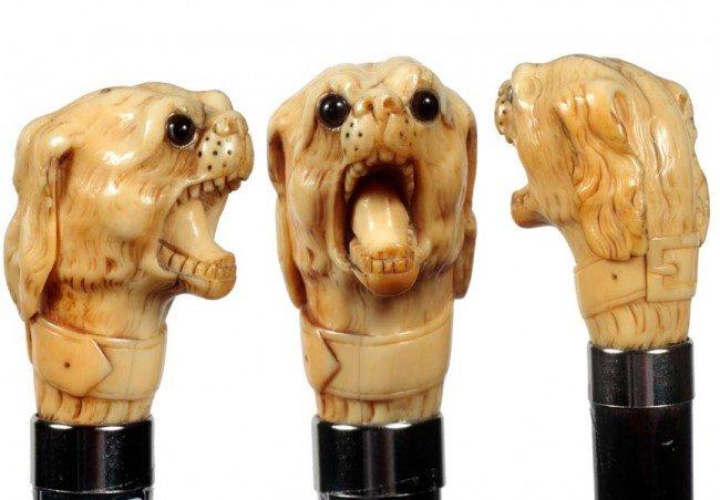 1: Ivory Dog Cane-Late 19th Century-Carved elephant ivo