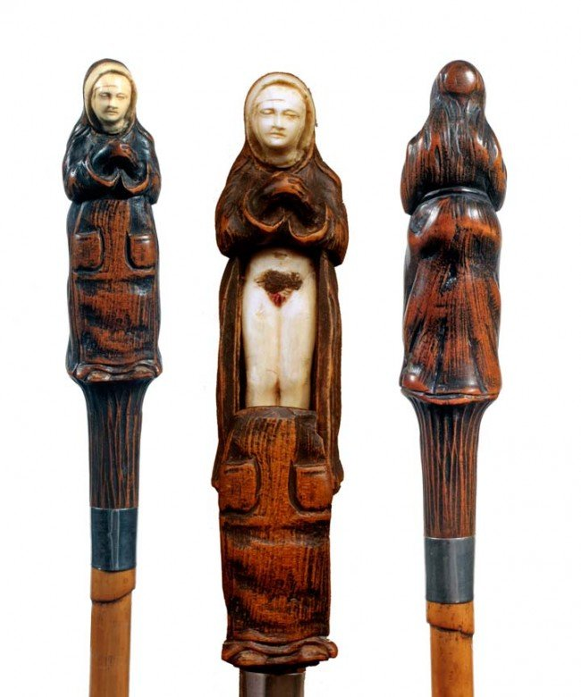2: Erotic Wood and Ivory Cane-Late 19th Century-A finel