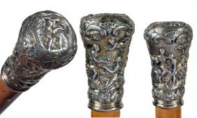 Silver Mythological Erotic Cane-Ca. 1885-This Mildly