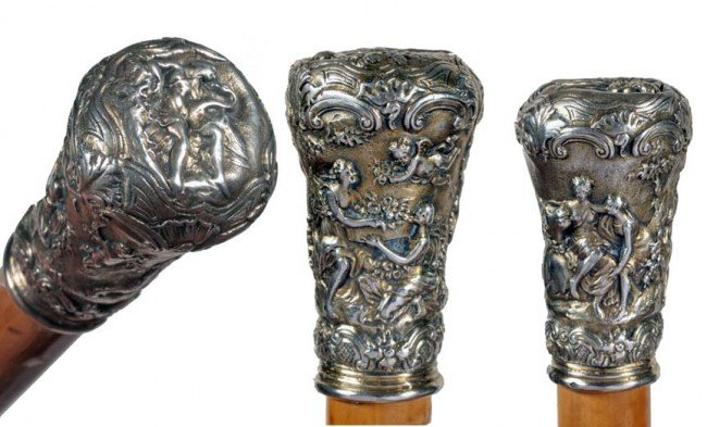 3: Silver Mythological Erotic Cane-Ca. 1885-This mildly