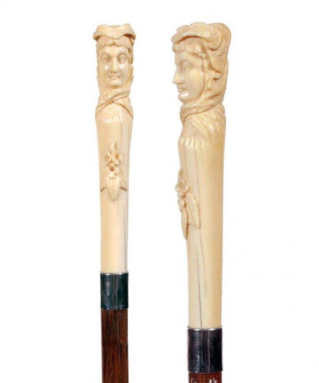 4: Ivory Portrait Cane-Ca. 1875-Carved elephant ivory l
