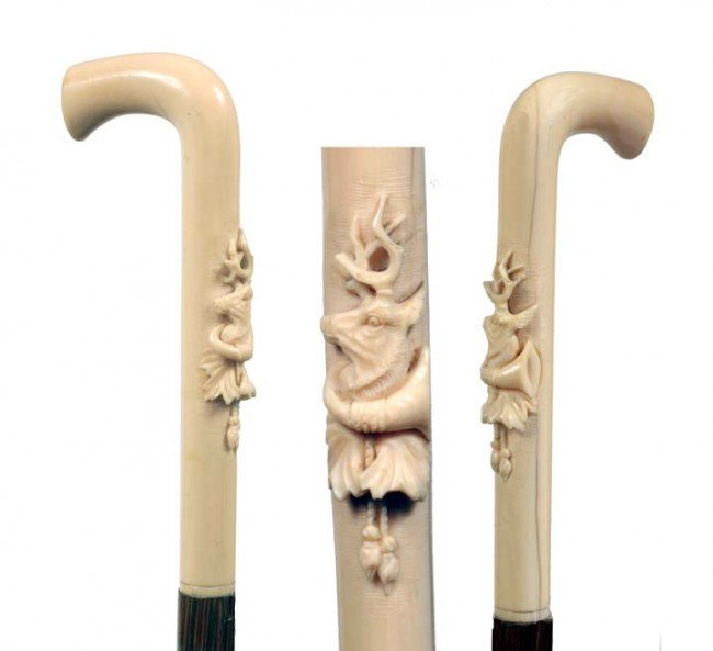 8: Ivory Deer Dress Cane-Late 19th Century-A carved ivo