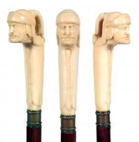 Carved Ivory Roman Soldier Cane-Ca. 1875-A Wonderful