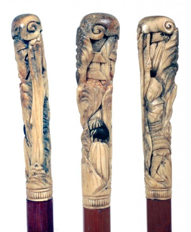 10: Asian Antler Cane-Ca. 1890-The stag handle is carve