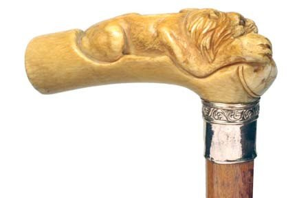 11: Ivory Lion Cane-Ca. 1875-A full figured lion with t