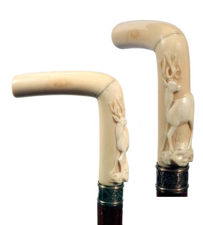 12: Carved Ivory Deer Cane-Late 19th Century-A nicely c