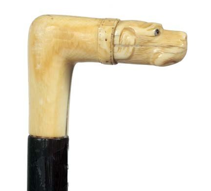 13: Ivory Dog Dress Cane-Late 19th Century-Carved ivory
