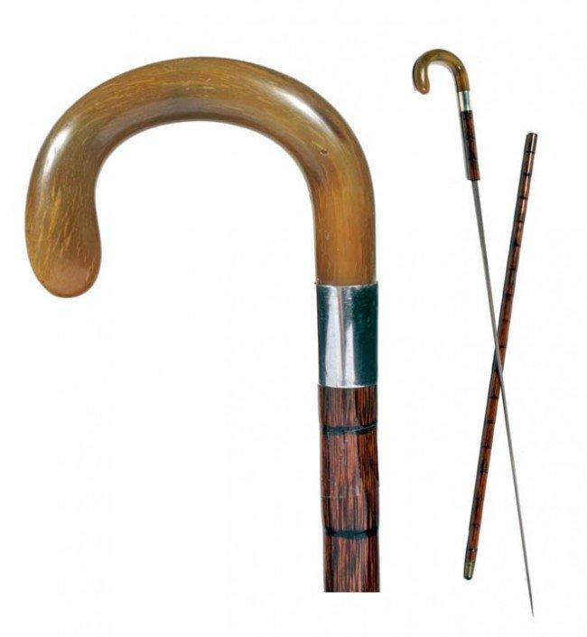 20: Toledo Sword Cane-Ca. 1890-A beautiful honey horn h
