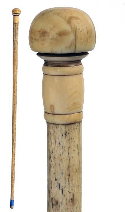 21: Nautical Whalebone and Ivory Cane-Ca. 1870-An unusu