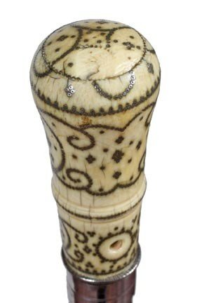 1: Ivory and Silver Pique Dress Cane-Late 17th Century-